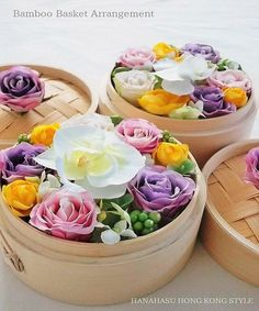 Bamboo Basket Flower ArrangementGreat for a dim sum party