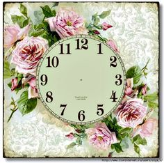 Декупаж Елены Олейниковой Rose Clock, Clock Flower, Clock Art, Diy Clock, Decoupage Vintage, Clock Face Printable, Shabby Chic Clock, Cross Paintings, Flower Pictures