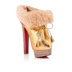 LOUBOUTIN SURVIE 160 mm, Specchio - Laminato, GOLD/GREZZO, Women Shoes.