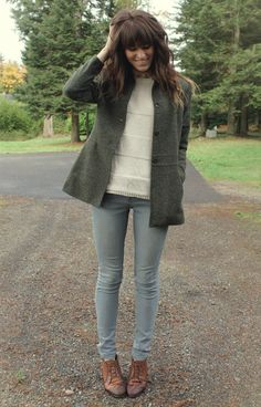 Soft, neutral colored skinny jeans, brown leather oxford-style ankle boot, creme striped sweater and a mossy green coat. Blazer: Thrifted, Sweater: Forever 21, Top: c/o Romwe, Pants: Volcom, Shoes: Vintage