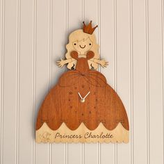 Wooden Princess Clock Personalized Name Cinderella Room Theme Wall Decor Princess Baby Nursery Girls Room Decor