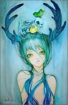 "╭[●""●]╮art illustration anime"