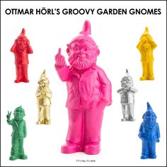 Ottmar Hörl Garden Gnomes, a modern take on the traditional lawn ornament available in varied poses and colors, are a far cry from the tacky originals.