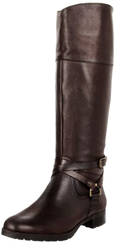 Ralph Lauren Women's Riding Boots Shoes Sonya Dark Brown Black Leather Suede
