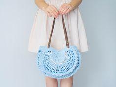 BAG // Blue summer bag Blue Handbag Blue Bag Crochet by Sudrishta, $69.00