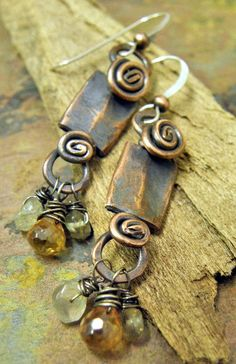 Citrine and Champange Knockers Antiqued by ThePurpleLilyDesigns, $23.50