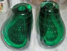 Sold for LESS THAN $69.99/20 (Best Offer Accepted) Pair Erickson Art Glass Controlled Bubble Vase Bookends Green | eBay