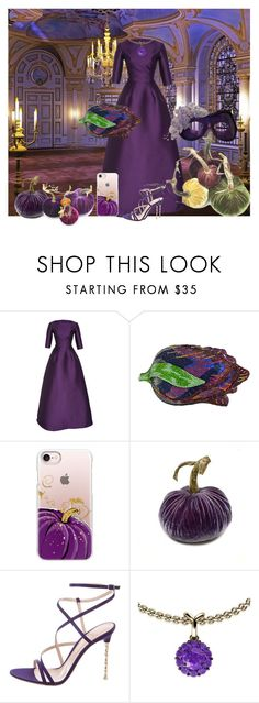 """""""Halloween ball"""" by subvilli ❤ liked on Polyvore featuring Reem Acra, Judith Leiber, Casetify, Gianvito Rossi, Color My Life, Masquerade, Halloween, purple, polyvoreeditorial and polyvorefashion"""