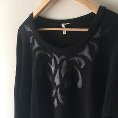 Sweater from Nordstrom w/ faux leather Black sweatshirt with faux leather detailing // worn once Frenchi Sweaters Crew & Scoop Necks