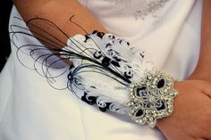 White and Black wrist corsage feather corsage prom by Hairfetti