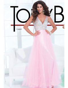 Tony Bowls 114529 Dress - V neck sleeveless bodice evening dress with low back by Tony Bowls Le Gala #macktak #tonybowls #prom2015 #terani #nyc #prom