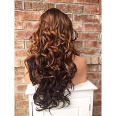 """Sharon Brown Auburn Wavy Curl Human Hair Blend Lace FrontWig 26"""" ($139) ❤ liked on Polyvore featuring accessories and hair accessories"""