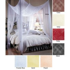 Bed canopy - look at how it's hung - I think you'd only need 4 hoop screws (don't know the official name for the screws!) and sturdy string/rope, and it makes a 4 poster bed but with fabric.  (This one is from Sears.)