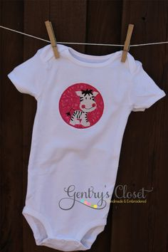 Baby girl Zebra onesie or tshirt Infant body suit by gentryscloset, $22.50