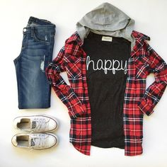 Layering for Fall.  Plaid Hooded Flannel + Happy Tee +Distressed Skinny Jeans +Converse – Pink Desert