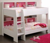 Kids Bedroom, 22 Playful And Cool Kids Bunk Beds Pictures Ideas : Cute Low Kids Bunk Beds With Lovely Pink Carpets And Minimalist Bed Rack Low Bunk Beds, Girls Bunk Beds, White Bunk Beds, Bunk Beds With Storage, Modern Bunk Beds, Bunk Beds With Stairs, Kid Beds, Rooms To Go Bedroom, Rooms To Go Kids