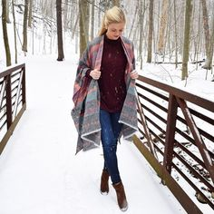 There's sNOw place like home! Back in the mitten and here to stay! Head to the blog {link in bio} for the full story + outfit details! ❄️✋ #ontheblog #blogger #fblogger #winterfashion #snow #loveloft #salealert #wiw #michigan #midwest #thankful #happy #poncho #instagood