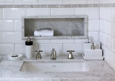 Like, nook built into wall above sink and under mirror. I also like two sinks but maybe separate vanities