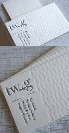 Business Card Graphics - Clean White Letterpress, logo incorporation.  Great Website for cards.