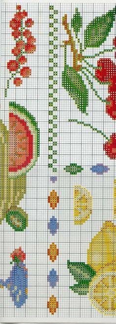 Ponto Cruz, artesanato, bordado, frutas