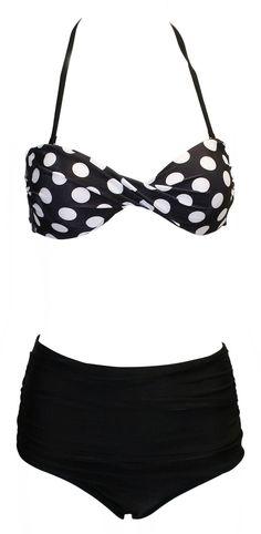 Vintage-Inspired Retro Pinup Girl Style High Waist Bikini Swimwear Set at Amazon Women's Clothing store:
