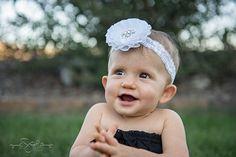 White Baby Headband White Flower Girl by LittleMissBlingNYC, $9.95