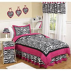 @Overstock.com - The Zebra Print bedding ensemble by JoJo Designs will set your child's room up in high style. This modern animal print bedding set uses a collection of soft microsuede fabrics in light pink, hot pink, and a striking black and white zebra print.  http://www.overstock.com/Bedding-Bath/Pink-Black-White-Zebra-Print-3-Piece-Girls-Full-Queen-Size-Bedding-Set/5298616/product.html?CID=214117 $99.99