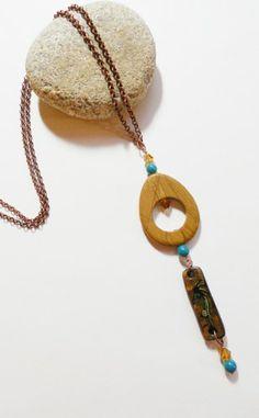 Kokopelli Mana Painted Gourd Wood and Bead Handmade Dangle Pendant | ConsciousArtStudios - Jewelry on ArtFire
