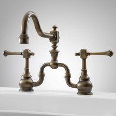 Newport Bridge Kitchen Faucet with Lever Handles - Antique Brass