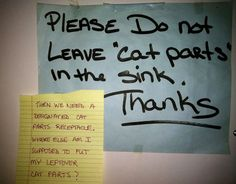 Cat parts? Please tell me this was put up in a veterinary clinic. LMAO