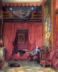 Ferrieres.  -  the bedroom (& portrait) of baron Alphonse de Rothschild.
