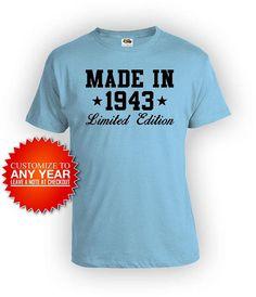 75th Birthday TShirt Grandma Gift Personalized Bday T Shirt Custom Ideas Women Made In 1943 Mens Ladies Tee