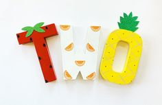 Fruit Stand Up Letters TWO-Cake Smash-Birthday-Party-Photo Prop-theme-Decorations-Decor-tutti twotti fruity Girl 2nd Birthday, First Birthday Parties, First Birthdays, Paper Mache Letters, Fruit Stands, Cute Fruit, Beautiful Fruits, Party Themes, Theme Ideas