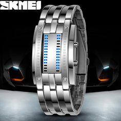 Luxury Lovers' Wristwatch Waterproof Men Women Stainless Steel Blue Binary Luminous LED Electronic Display Sport Watches Fashion //Price: $28.6 & FREE Shipping //