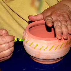 A Demonstration of Crayon Wax Resist on Pottery: Use Crayon as Wax Resist - this should work on fabric too?