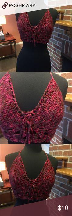 Burgundy crochet top Burgundy crochet halter top B cup Tops Crop Tops