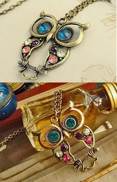 I own this!  :) Embellished Owl Necklace, very cute~