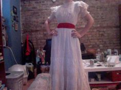 my antique dress w/ sash for haunted trail.