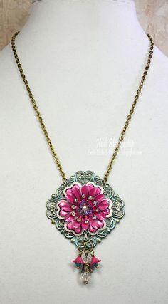 Pink Filigree Flower Necklace