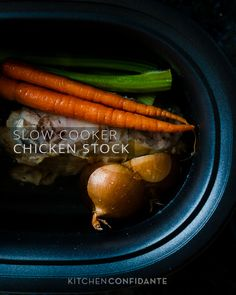 Slow Cooker Chicken Stock from @Liren Baker | Kitchen Confidante