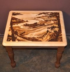 Gorgeous Landscape on Side Table By NapierWoodburning