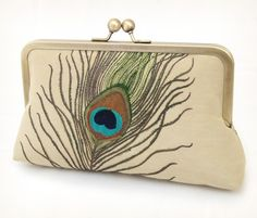 Peacock feathers - luxury silk and linen clutch bag by redrubyrose on Etsy. 105.