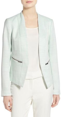 Nordstrom - Halogen ® Zip Pocket Open Jacket (Regular & Petite), women, fashion, style, outfits, clothing, clothes