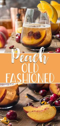 Lighten up a simple classic for summer with this Peach Old Fashioned Cocktail! Sweetened with a hint of fresh peaches and cherries, a splash of bubbles make this familiar drink perfect for the poolside! Source by rebootedmom fashioned recipes cocktail Old Fashioned Drink, Old Fashioned Recipes, Old Fashioned Cocktail, Spicy Recipes, Grilling Recipes, Vegetarian Recipes, Cooking Recipes, Kitchen Recipes, Appetizer Recipes