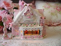 Pink Victorian Christmas Village House Restaurant~HP~Roses~Shabby to Chic