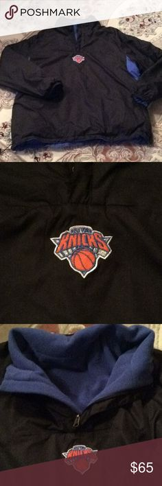 "🏀NY KNICKS ""PULLOVER FLEECE LINED"" JACKET SZ L I don't remember my husband wearing this.. if he did only once...  SUPER WARM w/ fleece lining and hidden inside zippered pockets. Outside has 2 zippered pockets as well and a zippered section on bottom for easy entry. Adjustable toggle cord.  Measures: 28"" long..chest area: 24"" NBA Jackets & Coats Performance Jackets"