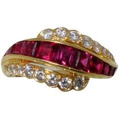 Oscar Heyman Ruby Diamond Gold Ring