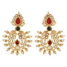 Pure collection multicolour gold plated kundan templae theme pearl earrings for women dilan jewels