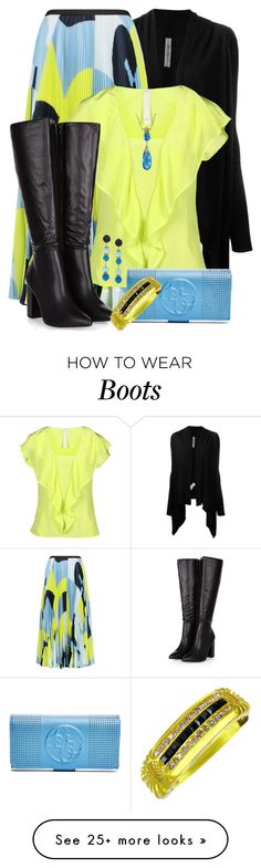 """""""Neon Ruffled Blouse"""" by jennifernoriega on Polyvore featuring Rick Owens, Raoul, Pinko, Etro, GUESS, Lagos, women's clothing, women, female and woman"""