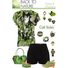 Fashion Inspiration for Editorials.  BACK TO NATURE: Forest & Meadow  by caili-styles on Polyvore. Colors: Black, White, Green, Brown & Gold. Note: Look for vegan, cruelty-free  alternatives (man-made/faux leather, microfiber suede, etc). Green bamboo and hemp could provide interesting, eco-friendly  options.